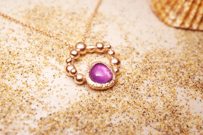 訂製玫瑰金紫水晶墜子